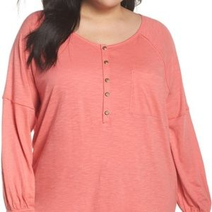 Caslon Relaxed Henley Tee (Plus Size)